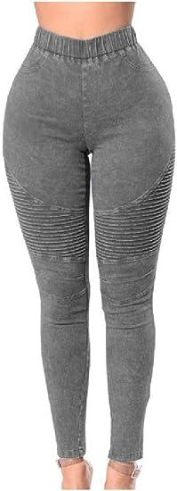 Tootess Women's Trendly Shirring Flexible Big Hips Skinny High-rise Denim Trousers