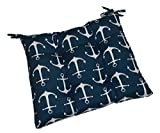 Indoor / Outdoor Navy Blue with White Anchors Nautical Universal Tufted Seat Cushion with Ties for Dining Patio Chair - Choose Size (16'' x 16'')