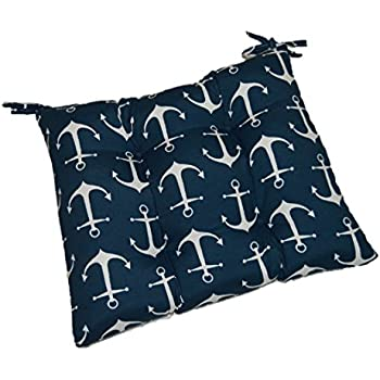 Indoor / Outdoor Navy Blue With White Anchors Nautical Universal Tufted  Seat Cushion With Ties For