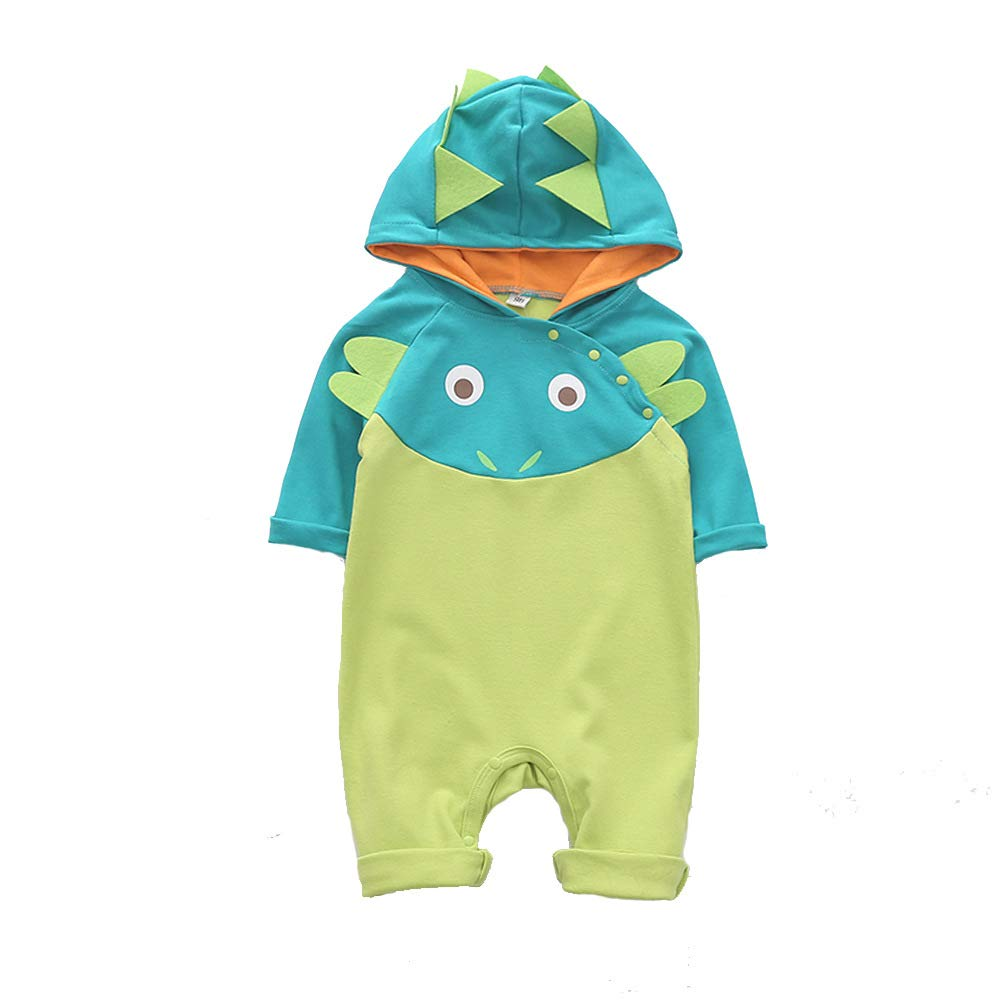 JJCat Unisex-Baby Hooded Long Sleeve Cute Crocodile Print Soft Wearing 100/% Cotton Rompers