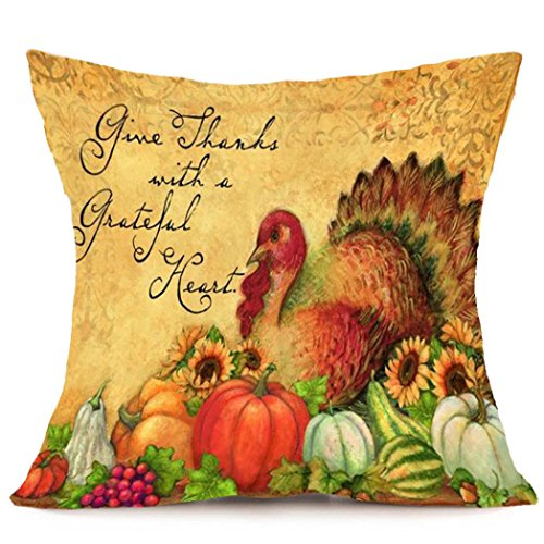 Thanksgiving Day Pillow Cover, Challyhope Fall Harvest Printed Linen Pillow Case Home Decor (18