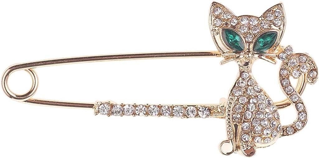 CUTICATE Fashion Rhinestone Animal Cat Safety Pin Brooch Scarf Shawl Belt Buckle Pin