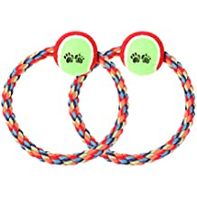 Pet Dogs Chew Toys Durable Cotton Rope Round Ring with Tennis for Cleaning Teeth Launcher Toy Throw Tug Ball