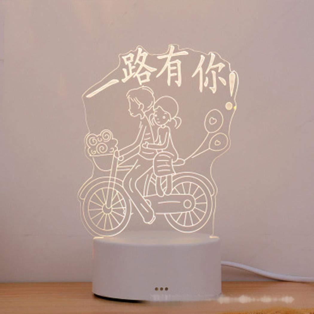 Acecor 3DクリエイティブカラーチェンジホームベッドルームデコレーションLEDナイトライトランプ ナイトライト 10 x 4cm / 3.9 x 1.6inch RSVB037982_1*  Bicycle Couple B07JWB9JTK