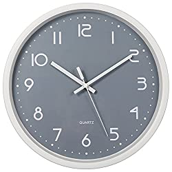 SkyNature 12 Inch Large Decorative Wall Clock Silent for Living Room (Gray)