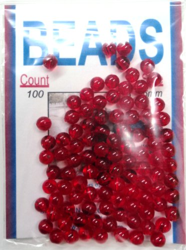 6MM Beads - Ruby Red - Round - 100 Per Pack - Hard Plastic (Ruby Red, #6MMRR)