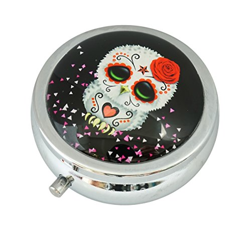Skull Round Steel Case - WuCong Skull Owl Custom Fashion Design Glass Round Pill Case Western Medicine Tablet Holder Decorative Box