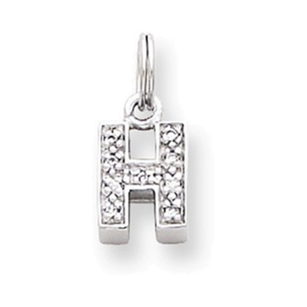 Jewelry Adviser Charms Sterling Silver CZ Initial H Charm