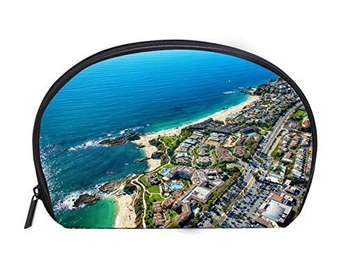 Laguna Bag - Portable Toiletry Cosmetic Bag Laguna Beach Coastal Aerial Ladies Travel Convenience Small Wash Bag Storage Bag