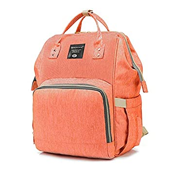 Image of Baby Baby Diaper Bag Multi-Function Travel Backpack Baby Nappy Changing Mommy Bags,Diaper Bag Large Capacity, Stylish and Durable (Orange Pink)