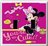 Got You Covered Framed Minnie Mouse Diva Bedding Bathroom Light Switch Cover Plate ... (2x Toggle, Dark Pink)