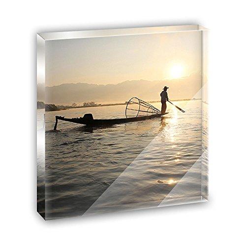 Mynamar Fisherman Silhouette Acrylic Office Mini Desk Plaque Ornament Paperweight