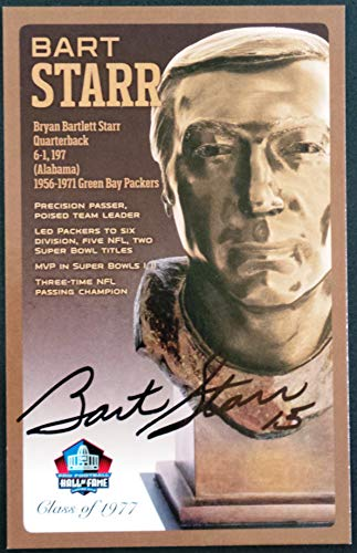PRO FOOTBALL HALL OF FAME Bart Starr NFL Signed Bronze Bust Set Autographed Card with COA (Limited Edition #94 of 150)