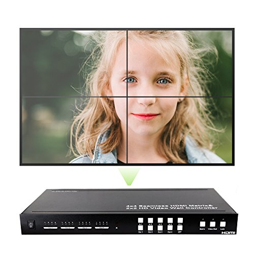 J-Tech Digital ProAV Series Seamless 4×4 HDMI Matrix Switch HDMI Matrix Selector Switcher with Four Picture Multiviewer 2×2 Video Wall Controller