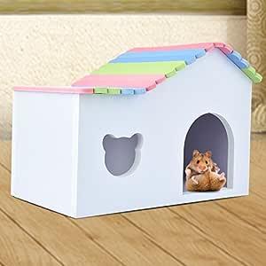 Zaote casa de jaula de madera colorida para sirios hamsters ...