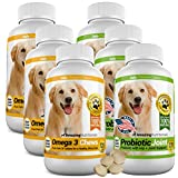 Amazing Combo Omega-3 Fish Oil and Probiotics for Dogs - Pure All-Natural Pet Antioxidant - Promotes Shiny Coat, Brain Health, Eliminates Diarrhea Gas and Joint Pain, 120 Tasty Chews x 6