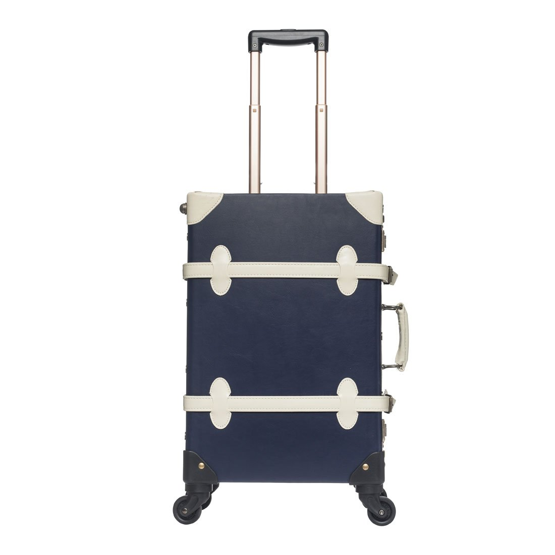 Women Vintage Suitcase 20''-26'' Pu Leather Trolley Luggage Sets or Carry On Bag (20'', Blue with white) by Generic