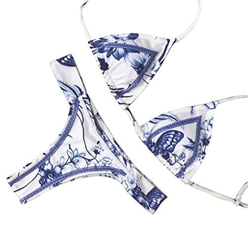 Bikini Mujer, Magiyard Mujeres Bikini conjunto de impresión Rivet remendado traje de baño Bañarse traje de baño Azul