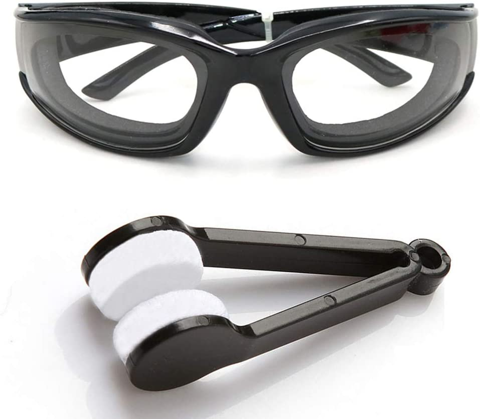 Amaoma Gafas de Cebolla,Cebolla Goggles Gafas Gafas Ligeras para Picar Cebolla, Gafas para el Hogar y Uso en Cocinas, con Cepillos de Limpieza(Negro)