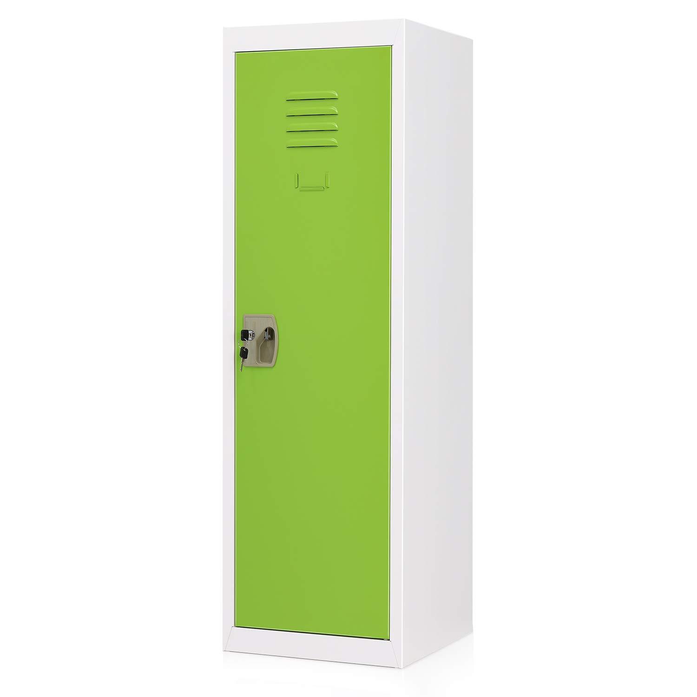 AdirOffice Kids Steel Metal Storage Locker 24 Inch, Red with Key /& Hanging Rods for Home /& School
