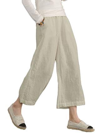 de954bb1905 Minetom Pantalon Large à jambes et Fluides pour Femmes Confortable  Elastiqué Grande Taille 3 4