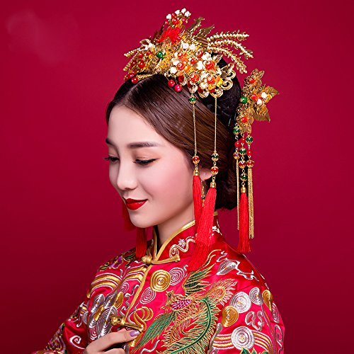 - Chinese Costume Bridal Headdress Chinese xiu Clothing Dragon Gown red Comb Hair Accessories Wedding Party Dress Chinese Clothes Jewelry (Popular kit + Ear Clip