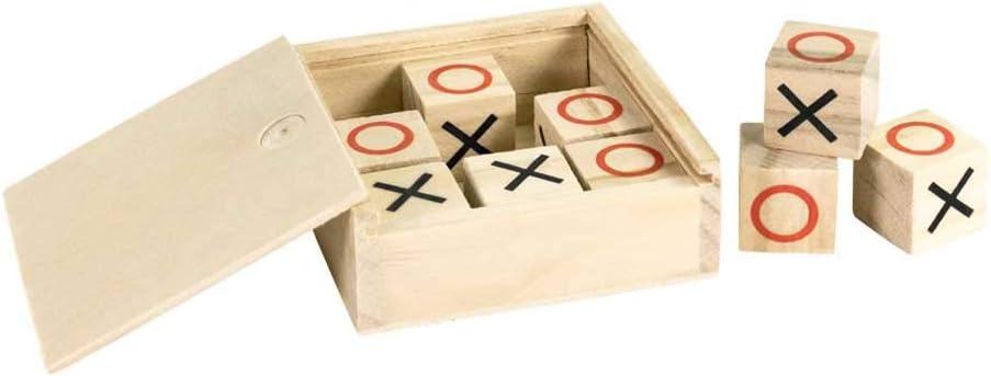 Lote 10 Juegos 3 en Raya con Caja en Madera Natural. Regalos para cumpleaños de niños, Detalles Infantiles para colegios, guarderías, AMPAS