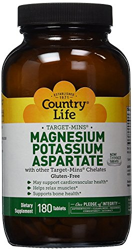 (Country Life Target Mins - Magnesium Potassium Aspartate, for Cardiovascular Health - 180)