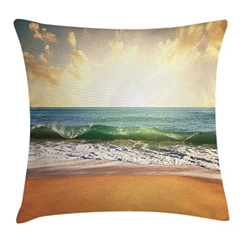 YVSXO Ocean Throw Pillow Cushion Cover, Sunset at a Smooth Sandy Beach with Small Wave and Bubbles from The Sea, Decorative Square Accent Pillow Case, 18 X 18 inches, Amber Cream and Blue