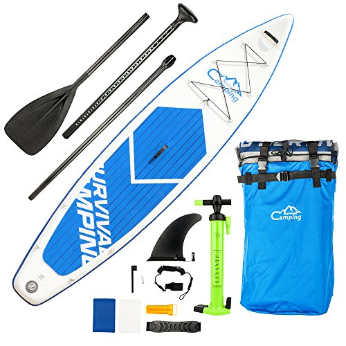 Pexmor 12' Inflatable Stand Up Paddle Board (6 Inches Thick) with SUP Accessories & Carry Bag | Wide Stance, Bottom Fin for Paddling, Surf Control, Non-Slip Deck | Youth & Adult Standing Boat