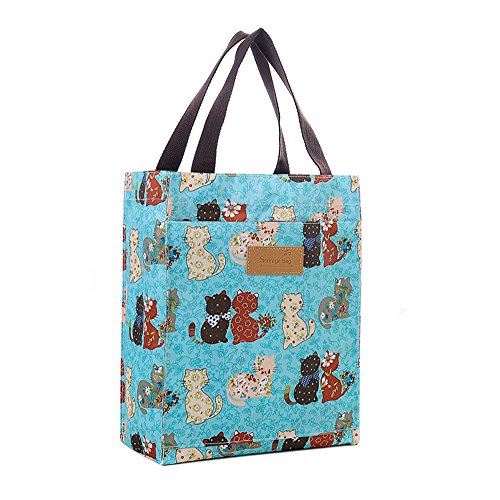 Toniker Grocery Shopping Bag with Waterproof Leak Proof Lining Large Collapsible Printing Tote Bag Lunch Box -