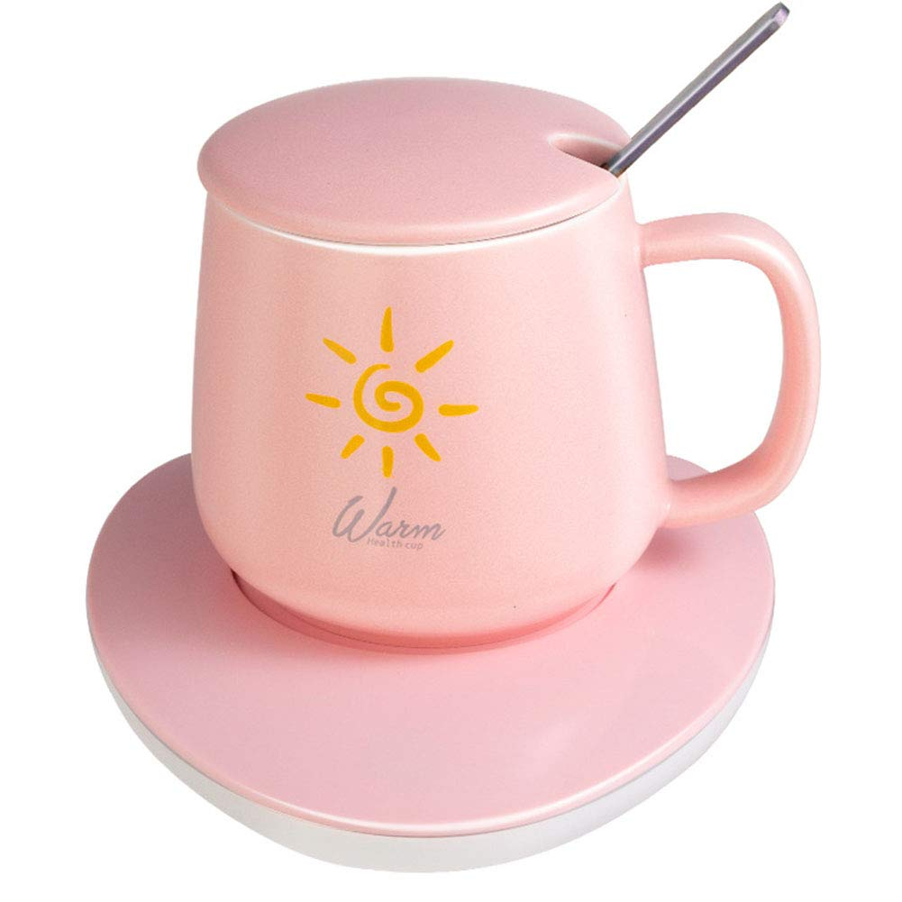 SHUHAO Coffee Mug Warmer, Desktop Coffee Warmer with Automatic Opening and Power-Off Protection, with Mug, Safe for Office and Home Coffee Insulation,Pink