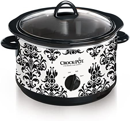 Crock Pot 4.5 Quart Manual Slow Cooker, Damask Pattern