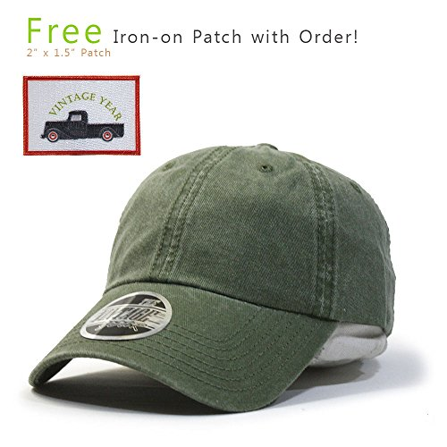 Vintage Washed Dyed Cotton Twill Low Profile Adjustable Baseball Cap (TP Olive (Low Profile Baseball Caps For Men)