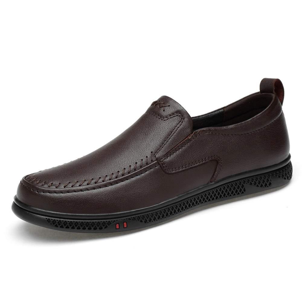 YJiaJu Herren Driving Schuhe Casual Loafer Komfortable perforierte Flache Slip On Echtes Leder oberen runden Zehengummi Trendy Business Herren Slipper Bequeme Laufsohle  | Neu