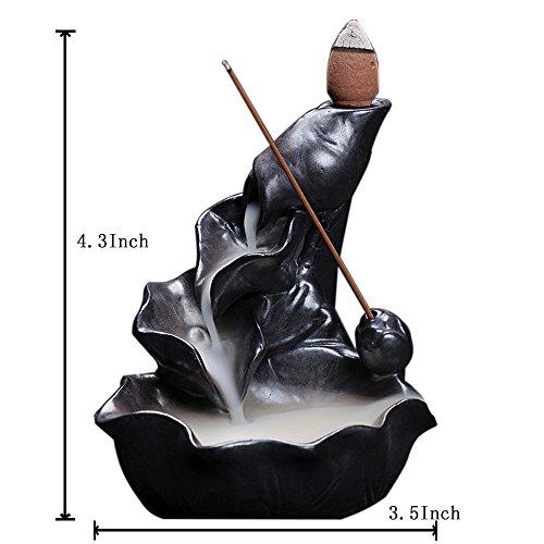 OCIOLI Backflow Ceramic Incense Burner Porcelain Holder Lotus Pond Censer- Black - incensecentral.us