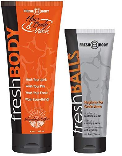- FRESH BALLS and FRESH BODY WASH! Fresh Balls Antiperspirant 3.4 oz and All-In-One Hair & Body Wash 8 oz!