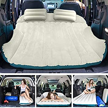 WEY FLY SUV Air Mattress with 2 Inflatable Pillows Car Air Mattress Travel Inflatable Mattress Camping Air Bed Dedicated Mobile Cushion Extended Outdoor for SUV Back Seat 4 Air Bags Blue and Beige