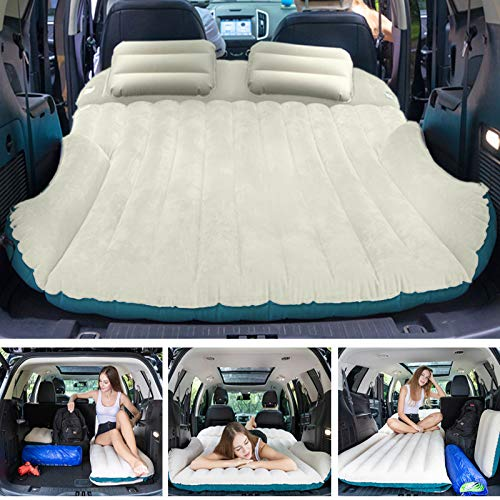 WEY&FLY SUV Air Mattress with 2 Inflatable Pillows Car Air Mattress Travel Inflatable Mattress Camping Air Bed Dedicated Mobile Cushion Extended Outdoor for SUV Back Seat 4 Air Bags (Blue and Beige)