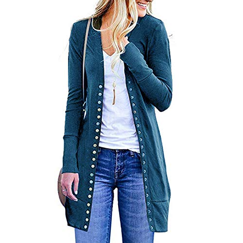 GOVOW Drape Front Blazer Women Open Front Button Down Cardigan Sweater Long Sleeve Plus Loose(US:12/CN:XL,Blue) (Cream Blazer Silk)