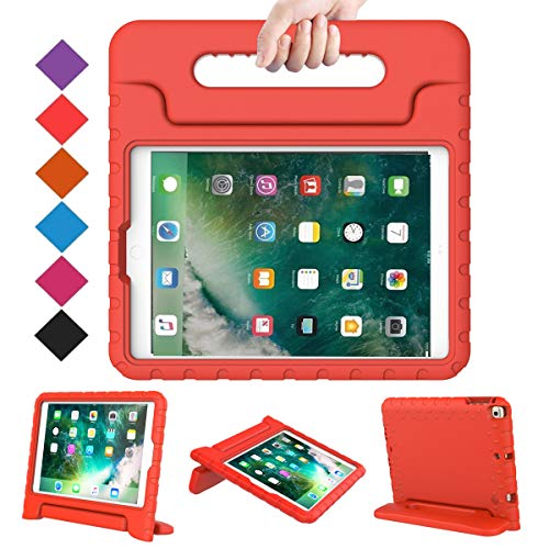 BMOUO Case for New iPad 9.7 Inch 2018/2017 - Shockproof Case Light Weight Kids Case Cover Handle Stand Case for iPad 9.7 Inch 2017/2018 Previous Model - Red