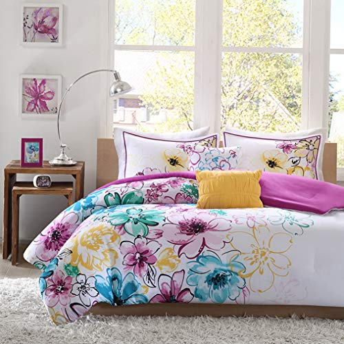 Kaputar New Chic Soft Modern Pink Purple Teal Blue Aqua Yellow Girls Comforter Set New | Model CMFRTRSTS - 1834 | Twin