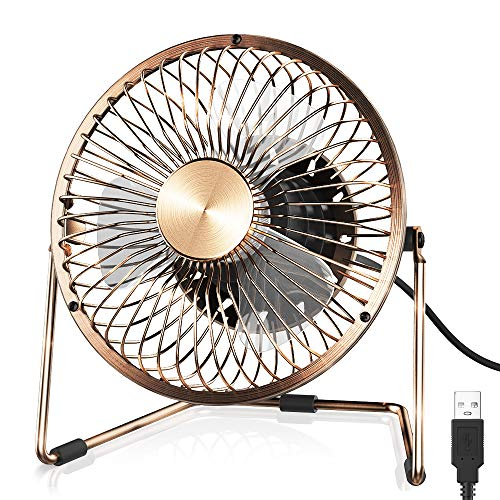 - Funme 5 Inch USB Desk Fan Portable Personal Cooling Fan Quiet Electric Desktop Fan Small Table Fan with 2 Speeds and 360 Rotation Features for Home, Office, Travel, Dorm, Outdoor (Bronze)
