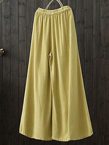 Ragazza Donna Lino Solidi Baggy Gelb Gamba Chic Moda Vita Gonna Eleganti Coulisse Estivi Vintage Palazzo Abbigliamento Colori Elastica Larga Con Pantaloni 77vwdIqxr