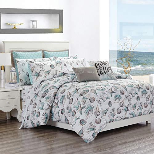 Bed Ensemble Set - KingLinen 12 Piece Seashells Aqua/Gray Reversible Comforter Set with Sheets Queen