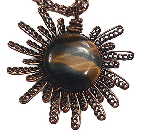 Round Tigers Eye Simple Wire Wrapped Pendant in Copper