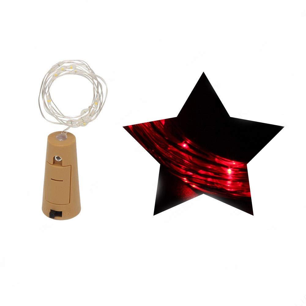 Iskylie Christmas LED Bottle Romantic Lights Battery Powered Wine Bottle String Lights for Party (Mini, Red)