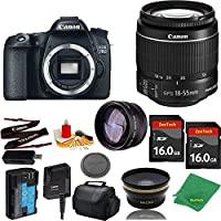 Great Value Bundle for 70D DSLR – 18-55mm STM + 2PCS 16GB Memory + Wide Angle + Telephoto Lens + Case