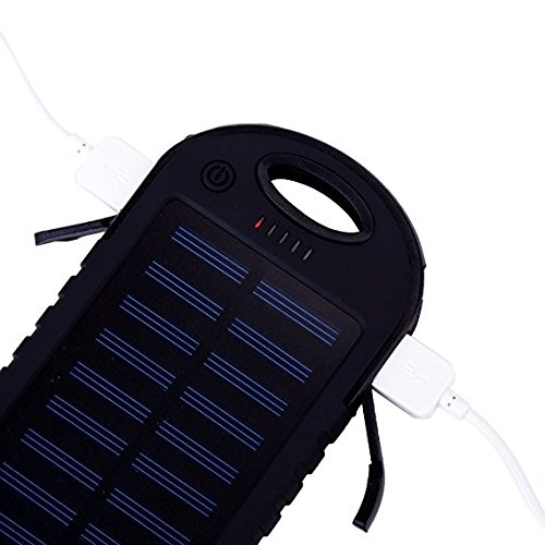 Solar Charger, Energy Mamut 5000mAh Portable Solar Power Bank Waterproof, Shockproof, Dustproof, Dual USB for Cell Phone, iPhone, Samsung, Android, Windows Phone, GoPro Camera, GPS and more. black