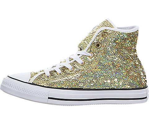 Converse Party Pack - Converse Womens Chuck Taylor All Star Holiday Party Hi Top Gold/White/Black Sneaker - 5